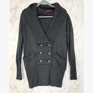 Anthro S grey cardigan chunky knit sweater button